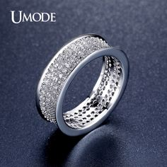 UMODE New Round Pave Luxury Wedding Rings White Gold Color Accessories Jewelry For Women Fashion Trend Engagement Bague AUR0352