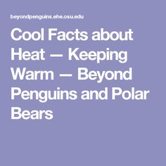 Cool Facts about Heat — Keeping Warm — Beyond Penguins and Polar Bears