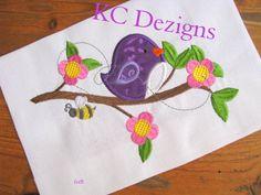 Spring Bird On Branch Machine Applique Embroidery Design