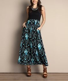 Another great find on #zulily! Black Floral Tank Maxi Dress - Plus #zulilyfinds