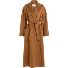 MAX MARA Cashmere Coat (23.695 NOK) ❤ liked on Polyvore featuring outerwear, coats, lapel coat, brown cashmere coat, tan coat, brown coat and pure cashmere coat