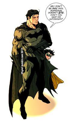 2/09/18 11:12p DC Batman aka Bruce Wayne Damian Wayne aka Robin Hides Behind Bruce He's Very Shy in Meeting Superman! vhyril.tumbler.vom