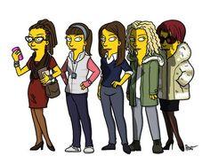 "Cosima, Alex, Beth/Sarah, Helena and Katja. | ""Orphan Black"" Characters  As ""The Simpsons"""