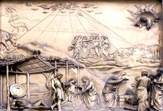 Dead Seas Scrolls Reveal that Noah's Ark Was Shaped Like a Pyramid. According to the scholars, the Septuagint from the third century, and medieval authors like Maimonides suggest something similar. and it must have been known in Renaissance times, since the panel  above from Ghiberti's doors to the Baptistry in Florence show the Ark as a pyramid.