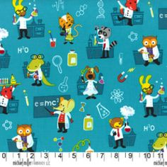 UK Online Fabric Shop - Michael Miller - Cotton - Metre - FQ - Fat Quarters - Quilting - Crafts - Dressmaking - Lab Animals - Turquoise - Childrens
