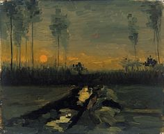 Paisaje al atardecer - Vincent van Gogh   Museo Thyssen