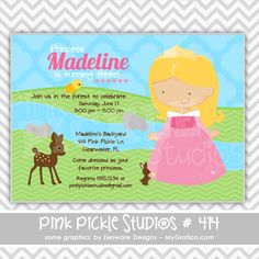 Pink Princess Personalized Party Invitation-personalized invitation, photo card, photo invitation, digital, party invitation, birthday, shower, announcement, printable, print, diy,animal, princess, princesses,