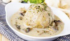 Houbová omáčka na smetaně s kulatými knedlíky Nutrition, Cheeseburger Chowder, Mashed Potatoes, Stuffed Mushrooms, Soup, Gluten Free, Eggs, Treats, Meals