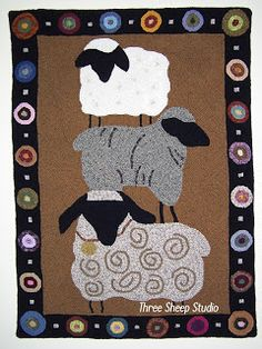 ThreeSheepStudio: Wool Rug Hooking - many rug hooking patterns can be reduced for needlepunch