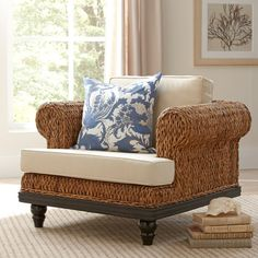Found it at Birch Lane - Esmont Woven Arm Chair Woven Chair, Wood Arm Chair, Chair And Ottoman, Armchair, Settee, Living Room Furniture Sale, Living Room Chairs, Furniture Making, Lounge Chairs