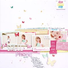 #papercraft #scrapbook #layout 4 photos + paper strips + buttetflies