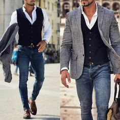 It's fun to dress up a pair of jeans. Dress shoes vest and a sports coat., Source by casual outfits Mens Fashion Suits, Mens Suits, Fashion Outfits, Fashion Ideas, Fashion Casual, Mens Suit Vest, Fashion Guide, Fashion Fashion, Fall Outfits