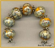 Yellow and Raku Lampwork Beads Handmde Glass Bead Set