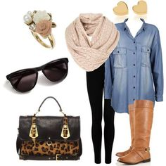 ,,my black leggings, my blue jean top, my brown boots and brown purse and brown scarf and matching soft accessories- great for late summer or fall