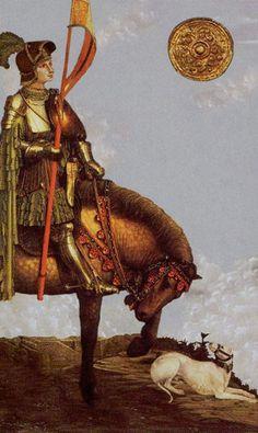 Golden Tarot - Knight of coins