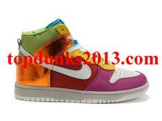 Light Multicolor Metallic Rainbow Red Pink Gold Premium High Top Nike Dunk Online