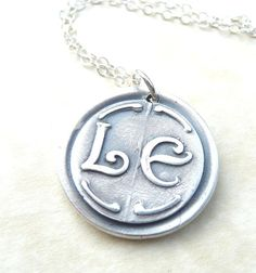 Personalized initial wax seal necklace jewelry by DreamofaDream
