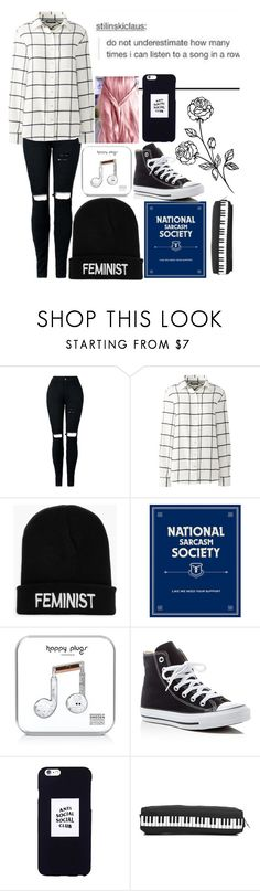 """""""read description!!!!"""" by nerdgirl-dork ❤ liked on Polyvore featuring Lands' End, Boohoo, Happy Plugs, Converse and Anti Social Social Club"""