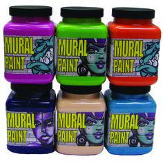 Chroma Mural Paint 16oz 6 Pack Brights Set contains Fury, Slime, Pucker, Calypso, Purple Haze, Sand