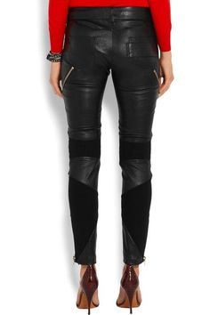 Givenchy - Leather And Stretch-knit Skinny Pants - Black - FR38