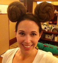 Mickey Ears Meet Princess Leia Buns.. Hahha!!! Maybe I should do this to her for her party! lol