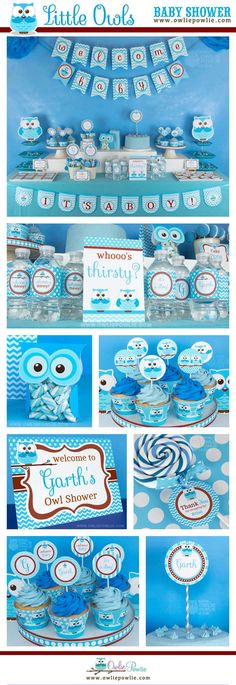 Blue Owl Baby Shower Party Printable Package and Invitations   Instant Download   You Edit Yourself with Adobe Reader #ad #baby #babyboy #babyshowergames #babyshower #babyshowerdecorations #babyshowerideas #babyshowerinvitations #owl #printable #download #downloadandprint