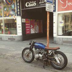motomood:  streets of Bratislava  Honda cafe racer