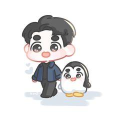 Exo Cartoon, Cartoon Fan, Cartoon Pics, Kyungsoo, Kaisoo, Chibi Wallpaper, Cute Disney Wallpaper, D O Exo, Exo Stickers
