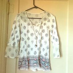 Lucky Brand Shirt 3/4 sleeve with transparent neckline and flare sleeve bottoms. Beaded tassel on neckline. Worn 2-3 times. Lucky Brand Tops Blouses