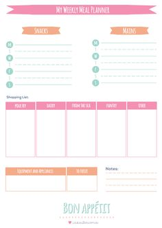 Printable Weekly Meal Planner - Use this weekly meal planner to organise healthy meals for your family for the week. Another Free printable from LoulouZoo