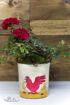 Geraniums and Ivy in a Vintage Inspired Rooster Bucket | $20.98