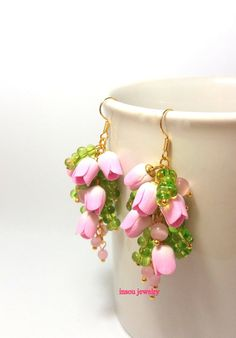 Pink Earrings Flower Earrings Pink Jewelry Tulip by insoujewelry #danishandmadewedding