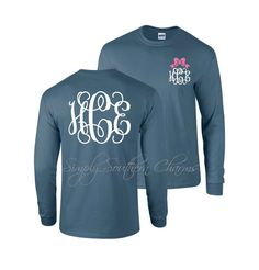 Long Sleeve Monogrammed Tshirt, Simply Southern T-shirt, Southern Clothing, Women's Shirt, Comfort Colors