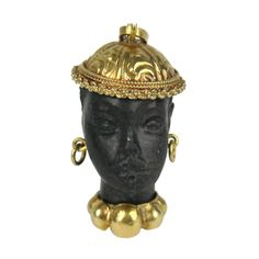 Gold Blackamoor Pendant - Charm | From a unique collection of vintage  at http://www.1stdibs.com////