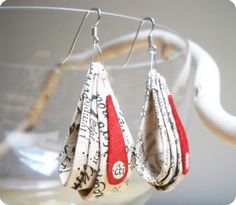 adorable earrings made by recycled paper
