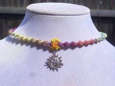 Sunshine Charm Rainbow Hemp Choker by Jenstylehemp on Etsy