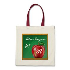 """Teachers Students A+ Red Apple Green Chalkboard Canvas Bags  This is an Original KLN – """"A+ for Apple"""" School Design… Featuring painted images of a green chalkboard and shiny red apple… the perfect schoolroom themed gift.  #zazzle #teacher #gift #chalkboard #zazzlebesties #apple #school #tote #bag"""