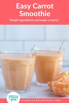 Delicious Carrot Smoothie For Kids! With a burst of fresh ingredients and Vitamin C, this easy carrot smoothie is a delicious toddler breakfast or snack—that you'll love too! Easy to make and perfect for warm days or a healthy kid-friendly dessert idea! Hidden veggies disguised as a treat! Perfect for kids. Carrot Smoothie, Veggie Smoothies, Smoothie Recipes For Kids, Smoothies For Kids, Good Smoothies, Big Kids, Kids Meals, Carrots, Vitamins