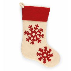 """Arcadia Home Christmas Stockings. These handmade stockings make a beautiful family heirloom. Eco-friendly, hand-felted and hand-appliqu+ad Made from 100% wool Measures approximately 20"""" long Stockings coordinate with the Arcadia Home tree skirts Adorn your mantle with a warm, festive look this holiday. Each stocking is lovingly handcrafted by group of artisans, which means each design is as unique as the artisan who created it. Made from 100 percent sustainable wool, Arcadia Home stockings…"""