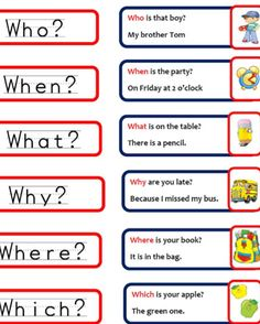 questions words in english ile ilgili görsel sonucu Kids English, English Tips, English Study, English Words, English Lessons, English Grammar, Learn English, English For Beginners, English Language Learning
