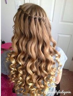 Cool 50 Charming Waterfall Braid Hairstyle Ideas For Girls This Year Dance Hairstyles, Formal Hairstyles, Latest Hairstyles, Bob Hairstyles, Straight Hairstyles, Braided Hairstyles, Wedding Hairstyles, Braids With Curls Hairstyles, Teenage Hairstyles