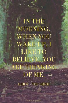 In the morning, when you wake up, I like to believe, you are thinking of me. - Birdy - Tee Shirt   Lois made this with Spoken.ly