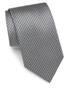 BRIONI Oval Bar-Print Silk Tie. #brioni #tie