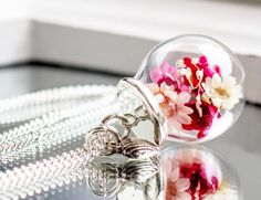 Real flower Necklace Jewelry Glass Globe Pendant by RafFinesse
