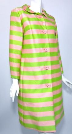 Rose pink and mint green horizontal striped silk spring coat from the 1960s.