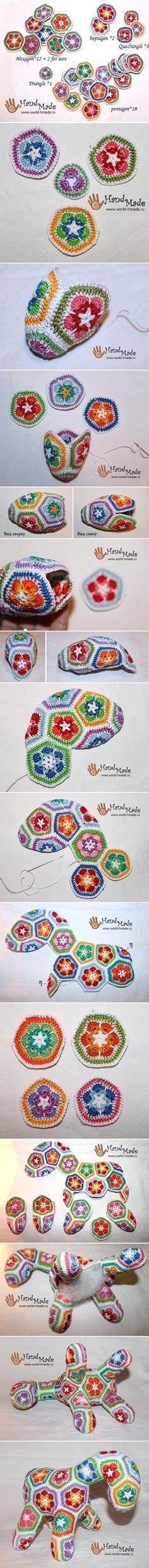 "Crochet ""Afrain Flower"" Horse DIY   www.FabricArtDIY.com"