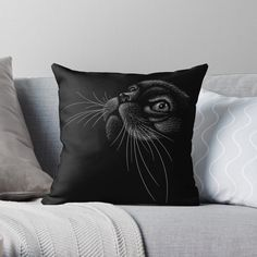 'Black Cat Chalk Style' Throw Pillow by SoccaTamam Laptop Cases, Phone Cases, Wall Tapestries, Tapestry, Throw Blankets, Throw Pillows, Cat Pillow, Cat Dad, Decorate Your Room