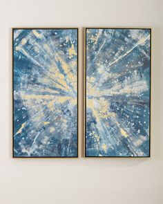 """Sparkling Blues"" Canvas Wall Art Set at Horchow. Wall Art Sets, Framed Wall Art, Wall Art Decor, Canvas Wall Art, La Rive, Blue Canvas, Abstract Wall Art, Abstract Paintings, Wall Art Designs"