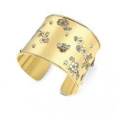 18ct Yellow Gold 0.60ct Diamond Set Bee & Cherry Blossom Scatter Cuff Bangle.