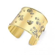 18ct Yellow Gold 0.60ct Diamond Set Bee & Cherry Blossom Scatter Cuff Bangle.